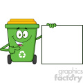 Talking Green Recycle Bin Cartoon Mascot Character Pointing To A Blank Sign Banner Vector