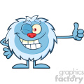 Cute Little Yeti Cartoon Mascot Character Winking And Holding A Thumb Up Vector