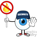 Blue Eyeball Cartoon Mascot Character Security Guard Gesturing Stop And Holding A Fire Sign Vector