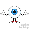 Blue Eyeball Guy Cartoon Mascot Character Shrugging Vector