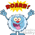 scary yeti cartoon mascot character with angry roar sound effect text vector  gif, png, jpg, eps, svg, pdf