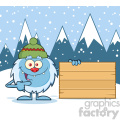 cute little yeti cartoon mascot character with hat pointing to a wooden blank sign vector with winter background gif, png, jpg, eps, svg, pdf