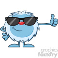 cute little yeti cartoon mascot character with sunglasses holding a thumb up vector  gif, png, jpg, eps, svg, pdf