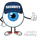 Blue Eyeball Cartoon Mascot Character Security Guard Giving A Thumb Up Vector