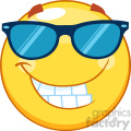 10458 Smiling Yellow Emoticon Cartoon Mascot Character With Sunglasses Vector