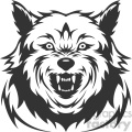 mean wolf growling head vector art