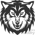 wolf growling head vector art