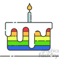 rainbow cake vector flat icon design  gif, png, jpg, eps, svg, pdf
