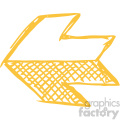 sketched left yellow arrow vector art