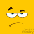 10891 Royalty Free RF Clipart Grumpy Cartoon Square Emoticons With Sadness Expression Vector With Yellow Background