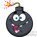 10814 Royalty Free RF Clipart Crazy Bomb Face Cartoon Mascot Character With Expressions Vector Illustration