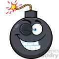 10818 Royalty Free RF Clipart Winking Bomb Face Cartoon Mascot Character With Expressions Vector Illustration
