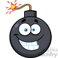 10824 Royalty Free RF Clipart Smiling Bomb Face Cartoon Mascot Character With Expressions Vector Illustration