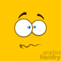 10894 Royalty Free RF Clipart Nervous Cartoon Square Emoticons With Panic Expression Vector With Yellow Background