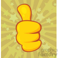 10696 Royalty Free RF Clipart Yellow Cartoon Hand Giving Thumbs Up Gesture Vector With Vintage Stars Background