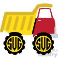dump truck monogram svg cut file vector clip art image