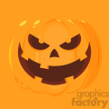 Evil Halloween Pumpkin Cartoon Emoji Face Character Vector Illustration Flat Design Style With Background