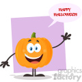 Happy Orange Pumpkin Vegetables Cartoon Emoji Character Waving For Greeting Vector Illustration Flat Design Style Isolated On White Background With Speech Bubble And Text Happy Halloween