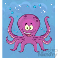 Royalty Free RF Clipart Illustration Happy Octopus Cartoon Mascot Character Swimming Underwater Vector Illustration With Blue Background