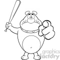 Royalty Free RF Clipart Illustration Black And White Angry Bulldog Cartoon Mascot Character Holding A Bat And Pointing Vector Illustration Isolated On White Background