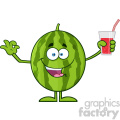 Green Watermelon Fresh Fruit Cartoon Mascot Character Presenting And Holding Up A Glass Of Juice