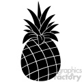 Royalty Free RF Clipart Illustration Pineapple Fruit Black And White Silhouette Simple Design Vector Illustration Isolated On White Background