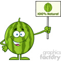 Green Watermelon Fresh Fruit Cartoon Mascot Character Presenting A 100 Percent Natural Sign