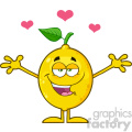 Royalty Free RF Clipart Illustration Happy Lemon Fresh Fruit With Green Leaf Cartoon Mascot Character With Hearts And With Open Arms For Hugging Vector Illustration Isolated On White Background