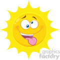 Royalty Free RF Clipart Illustration Mad Yellow Sun Cartoon Emoji Face Character With Crazy Expression And Protruding Tongue Vector Illustration Isolated On White Background