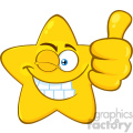 Royalty Free RF Clipart Illustration Smiling Yellow Star Cartoon Emoji Face Character With Wink Expression Giving A Thumb Up Vector Illustration Isolated On White Background