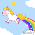 Clipart Illustration Smiling Magic Unicorn Cartoon Mascot Character unicorn Making Rainbows Vector Illustration With Background