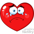 Crying Red Heart Cartoon Emoji Face Character With Sad Expression Vector Illustration Isolated On White Background