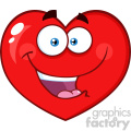 Happy Red Heart Cartoon Emoji Face Character With Expression Vector Illustration Isolated On White Background
