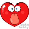 Red Heart Cartoon Emoji Face Character Sticking His Tongue Out Vector Illustration Isolated On White Background