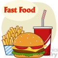 Fast Food Hamburger Drink And French Fries Cartoon Drawing Simple Design Vector Illustration Isolated On White Background With Text Fast Food