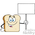 Smiling Bread Slice Cartoon Mascot Character Holding A Blank Sign Vector Illustration Isolated On White Background