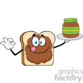 Bread Slice Cartoon Mascot Character With Peanut Butter Holding A Jar Of Peanut Butter Vector Illustration Isolated On White Background