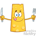 Hungry Cheese Cartoon Mascot Character Holding A Knife and Fork Vector Illustration Isolated On White Background