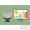 Professor Or Scientist Cartoon Character With Pointer Discussing Bitcoin Growth With A Bar Graph VVector Illustration Flat Design With Background