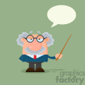 Professor Or Scientist Cartoon Character Holding A Pointer With Speech Bubble Vector Illustration Flat Design With Background