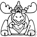 cartoon clipart moose 014 bw
