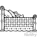 black white cartoon bed