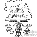 black and white native american vector art