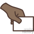 african american hand holding card vector icon