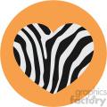 heart with zebra skin orange background