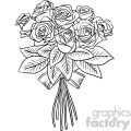 black and white rose bouquet vector clipart
