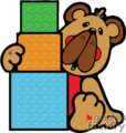 Colorful cartoon bear stacking blocks