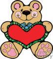 Brown bear cartoon holding a heart pillow