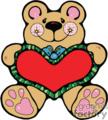 Brown bear cartoon holding a heart pillow