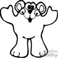 Black and white silly cartoon bear